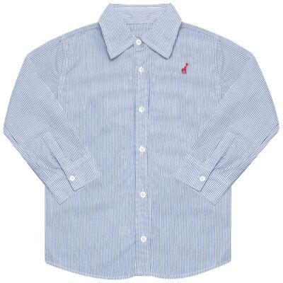 Imagem 1 do produto Camisa para bebe em tricoline listrado azul - Toffee - 1214C89660 CAMISA ML TECIDO AZ-6-9