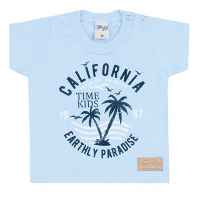 Imagem 2 do produto Camiseta com Bermuda para bebe California azul - Time Kids - TK5112.AZ CONJUNTO CAMISETA C/SHORTS PARADISE AZUL-G