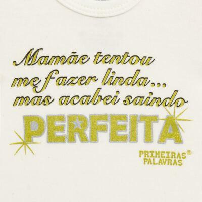 Imagem 2 do produto Body longo para bebe em suedine Perfeita - Primeiras Palavras - PP1511 PERFEITA CRU ML-P