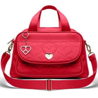 Imagem 2 do produto Bolsa Térmica para bebe Valência + Trocador Portátil Corações Matelassê Vermelho- Classic for Baby Bags
