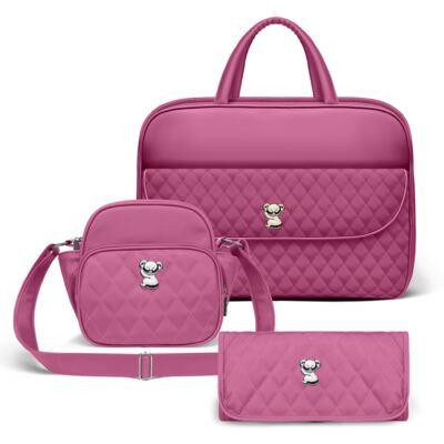 Imagem 1 do produto Kit Mala Maternidade para bebe + Frasqueira Térmica Guadalupe + Trocador Portátil Colors Pink - Classic for Baby Bags