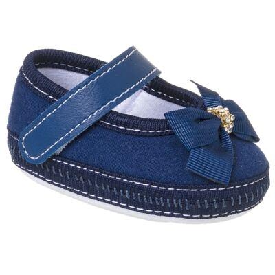 Imagem 1 do produto Sapatilha para bebê Laço & Strass Marinho - Keto Baby - KB1091-5 SAPATO PARA BEBE AZUL MARINHO FEM-15