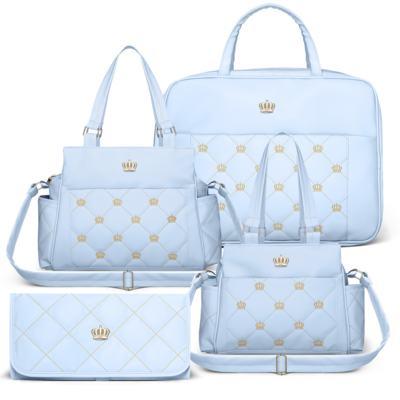 Imagem 1 do produto Mala Maternidade + Bolsa Elizabeth + Bolsa Térmica Elizabeth + Trocador Portátil para bebe Queen Light Blue - Classic for Baby Bags