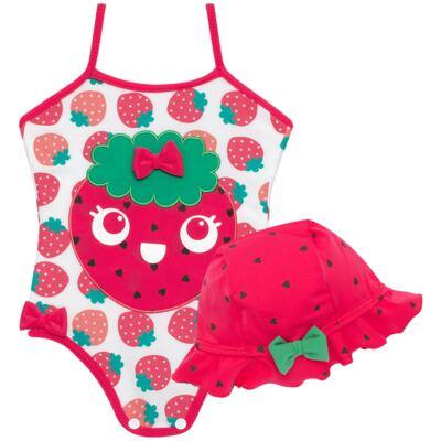 Imagem 1 do produto Conjunto de banho Strawberry: Maiô + Chapéu - Cara de Criança - KIT1-1253: MB1253 MAIO + CH1253 CHAPEU MORANGUINHO-M