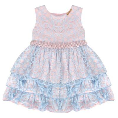 Imagem 1 do produto Vestido para bebe em renda Grace - Miss Sweet - SW2076 Vestido Renda Azul-1