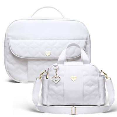 Imagem 1 do produto Kit Mala Maternidade para bebe + Frasqueira Santiago Corações Matelassê Branco - Classic for Baby Bags