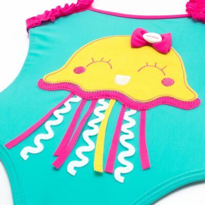 Imagem 3 do produto Conjunto de banho Jellyfish: Maiô + Chapéu - Cara de Criança - KIT1-1264: MB1264 MAIO + CH1264 CHAPEU AGUA VIVA-P