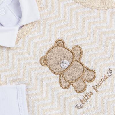 Imagem 3 do produto Jardineira c/ Body longo para bebê em tricot Nature Little Friends - Mini & Classic - 1606650 JARDINEIRA C/ BODY TRIC/SUED NATURE-P