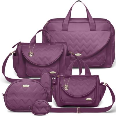 Imagem 1 do produto Mala Maternidade para bebe + Bolsa Gênova + Frasqueira Térmica Nápoli + Kit Acessórios Chevron Ametista - Classic for Baby Bags
