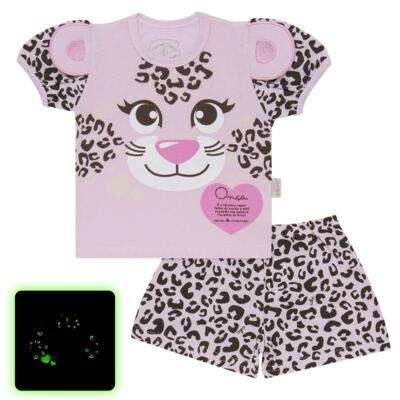 Imagem 1 do produto Pijama curto que Brilha no Escuro Onça Pintada - Cara de Criança - U1820 ONCA PINTADA PIJAMA-CURTO M/MALHA -1