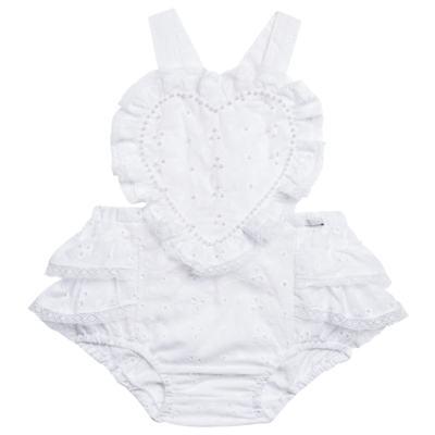 Imagem 1 do produto Jardineira para bebe em laise Pérolas Deluxe - Roana - JL000927001 Jardineira Luxo Branco-M