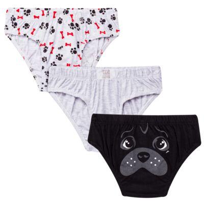 Imagem 1 do produto Kit com 3 Cuecas para bebe em malha Dogs - Cara de Criança - KK2342 Pug Masc. KK3 Kit Cueca 3pçs M/Malha -P