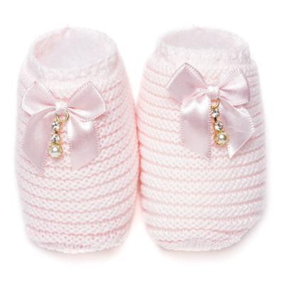 Imagem 1 do produto Sapatinho para bebe em tricot Laço Strass & Pérolas Rosa - Roana - STD00038046 Sapato em Tricot Detalhe Laço Rosa