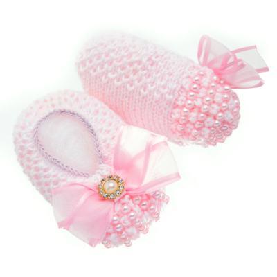 Imagem 3 do produto Sapatinho para bebe em tricot Laço Strass & Pérolas Rosa - Roana - STD00142046 Sapato Tricot Pérolas Rosa