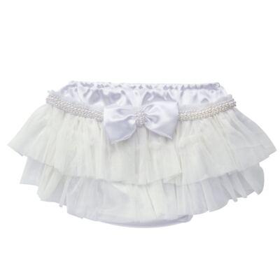 Imagem 1 do produto Calcinha para bebê Cetim Laço Tule & Pérolas Branca - Roana - CLES0033001 Calcinha Especial Branco-G