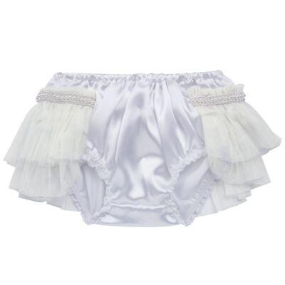 Imagem 2 do produto Calcinha para bebê Cetim Laço Tule & Pérolas Branca - Roana - CLES0033001 Calcinha Especial Branco-G