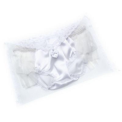 Imagem 3 do produto Calcinha para bebê Cetim Laço Tule & Pérolas Branca - Roana - CLES0033001 Calcinha Especial Branco-G