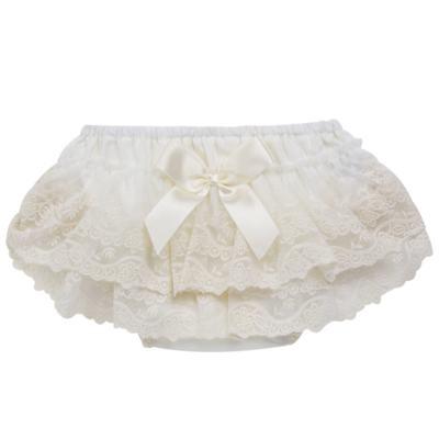 Imagem 1 do produto Calcinha para bebê em tricoline Renda & Laço Marfim - Roana - CLES0032031 Calcinha Especial Marfim-G