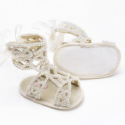 Imagem 2 do produto Sandália Gladiadora para bebe Pérolas Marfim - Roana - GLA00001031 Sandália Gladiadora Marfim -RN