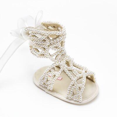Imagem 3 do produto Sandália Gladiadora para bebe Pérolas Marfim - Roana - GLA00001031 Sandália Gladiadora Marfim -RN