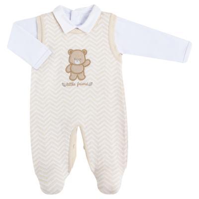 Imagem 1 do produto Jardineira c/ Body longo para bebê em tricot Nature Little Friends - Mini & Classic - 1606650 JARDINEIRA C/ BODY TRIC/SUED NATURE-RN