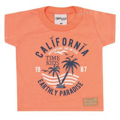 Imagem 2 do produto Camiseta com Bermuda para bebe California orange - Time Kids - TK5112.LR CONJUNTO CAMISETA C/SHORTS PARADISE LARANJA-G