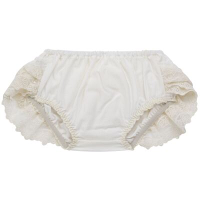 Imagem 2 do produto Calcinha para bebê em tricoline Renda & Laço Marfim - Roana - CLES0032031 Calcinha Especial Marfim-M
