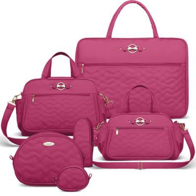 Imagem 1 do produto Mala Maternidade para bebe + Bolsa Liverpool + Frasqueira Térmica Melrose + Kit Acessórios Laços Matelassê Pink - Classic for Baby Bags