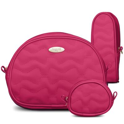 Imagem 5 do produto Mala Maternidade para bebe + Bolsa Liverpool + Frasqueira Térmica Melrose + Kit Acessórios Laços Matelassê Pink - Classic for Baby Bags