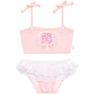 Imagem 4 do produto Conjunto de Banho Ballet: Camiseta + Biquíni + Tiara - Cara de Criança - KIT1-1268: BB1268 BIQUINI + CCAB1268 CAMISETA BAILARINA-P