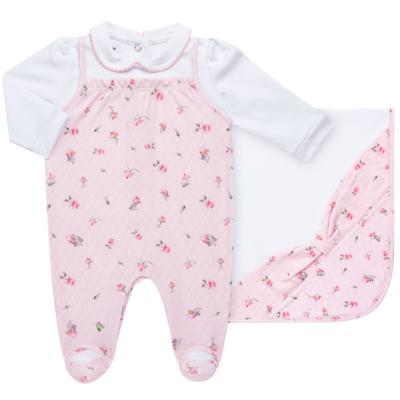 Imagem 1 do produto Jogo Maternidade com Macacão e Manta em algodão egípcio Flora - Bibe - 39Z06-G78 CJ MATERNIDADE FLORES-P