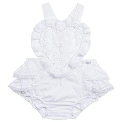 Imagem 1 do produto Jardineira para bebe em laise Pérolas Deluxe - Roana - JL000927001 Jardineira Luxo Branco-P