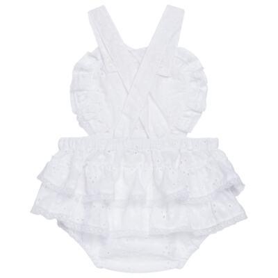 Imagem 3 do produto Jardineira para bebe em laise Pérolas Deluxe - Roana - JL000927001 Jardineira Luxo Branco-P