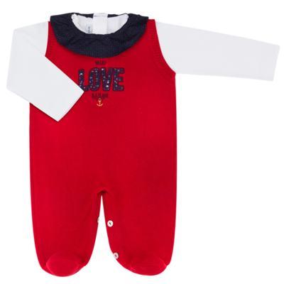 Imagem 1 do produto Jardineira com Body longo para bebe em tricot Love Sailor - Mini Sailor - 17354443 Jardineira Longa c/ Body Tricot Vermelho-NB