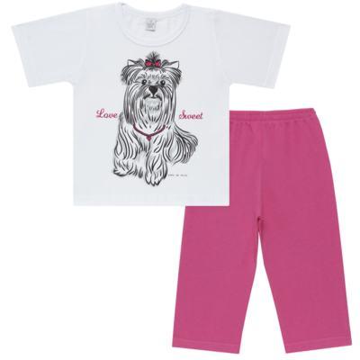 Imagem 1 do produto Pijama Curto em malha Cachorrinha - Cara de Sono - C2005 DOG LOVE C PJ-MG CURTA C/CALCA M/MALHA-4