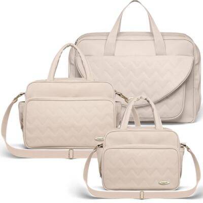 Imagem 1 do produto Mala Maternidade para bebe + Bolsa Turin + Frasqueira Térmica Trento Chevron Ágata - Classic for Baby Bags