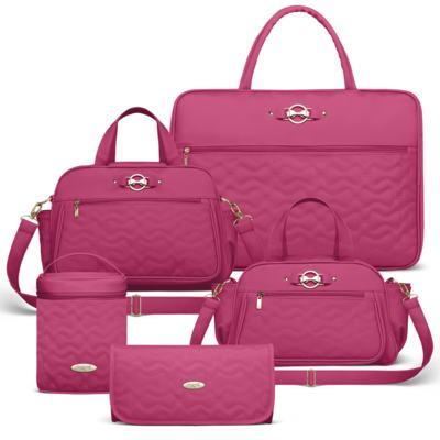Imagem 1 do produto Mala Maternidade para bebe + Bolsa Liverpool + Frasqueira Térmica Melrose + Térmica Firenze + Trocador Laços Matelassê Pink - Classic for Baby Bags