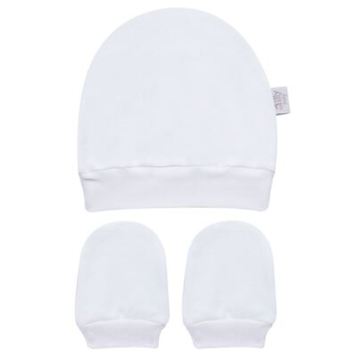 Imagem 1 do produto Kit Touca e Luva para bebe em suedine Branca - Tilly Baby - TB13114.01 GORRO E LUVA EM SUEDINE BRANCO-RN