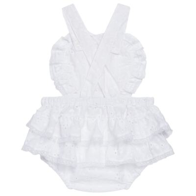 Imagem 3 do produto Jardineira para bebe em laise Pérolas Deluxe - Roana - JL000927001 Jardineira Luxo Branco-G