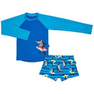Imagem 1 do produto Conjunto de banho Tubarão: Camiseta + Sunga - Puket - KIT PK TUBARAO Camiseta + Sunga Tubarao-2