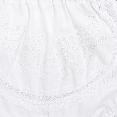 Imagem 3 do produto Calcinha para bebê em tricoline Branca - Roana - CLB00008001 Calcinha Laço Renda -RN