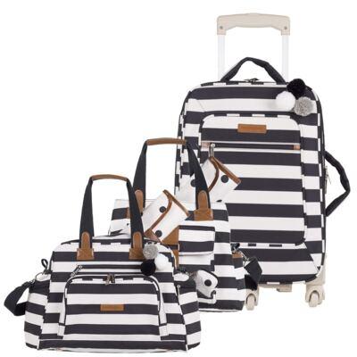 Imagem 1 do produto Mala Maternidade com rodízio + Bolsa Kate + Bolsa Everyday Brooklyn Black and White - Masterbag