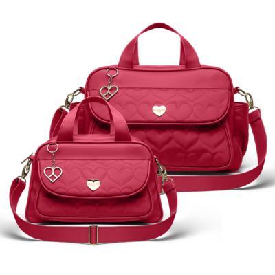 Imagem 1 do produto Bolsa maternidade para bebe Málaga  + Frasqueira Valência Corações Matelassê Vermelho -  Classic for Baby Bags