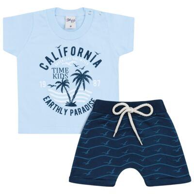 Imagem 1 do produto Camiseta com Bermuda para bebe California azul - Time Kids - TK5112.AZ CONJUNTO CAMISETA C/SHORTS PARADISE AZUL-P