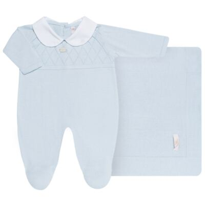 Imagem 1 do produto Jogo Maternidade com Macacão e Manta em tricot Bleu - Petit - 47104420 Jogo Maternidade c/ Gola Tricot/Fus Azul -P