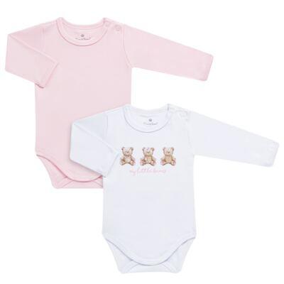 Imagem 1 do produto Pack: 02 Bodies longos para bebe em algodão egípcio c/ jato de cerâmica Princess Bear - Mini & Classic - 1023655 PACK 2 BODIES ML SUEDINE URSA-M