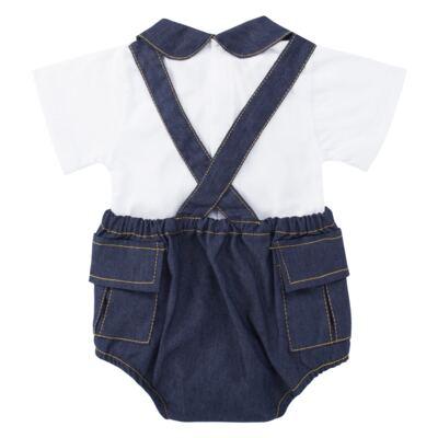 Imagem 2 do produto Jardineira c/ Body curto para bebe em fleece Denim - Roana - 11442034493 Jardineira com Body Jeans-P