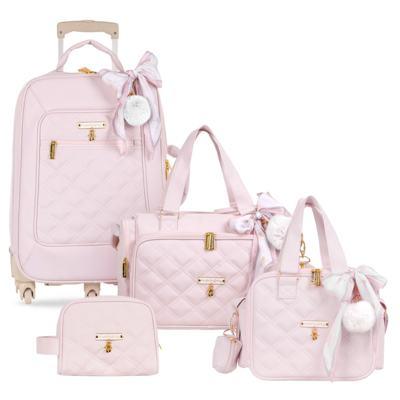Imagem 1 do produto Mala Maternidade com Rodízio + Bolsa Anne + Bolsa térmica organizadora + Necessaire Ballet Rosa - Masterbag