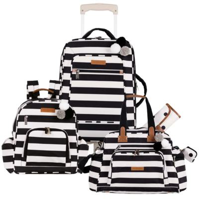 Mala maternidade com rodízio + Bolsa Everyday + Mochila Noah Brooklyn Black and White - Masterbag