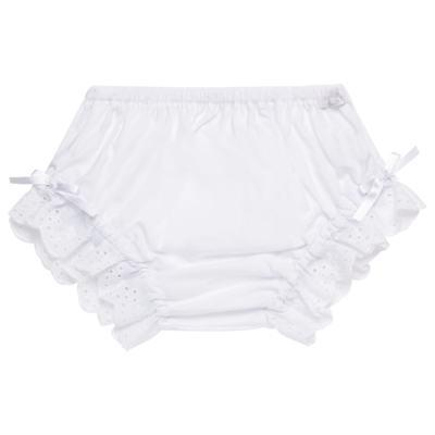 Imagem 1 do produto Calcinha para bebê em tricoline Lacinhos Branca - Roana - CLA00003001 Calcinha Lese Laço Branca-G